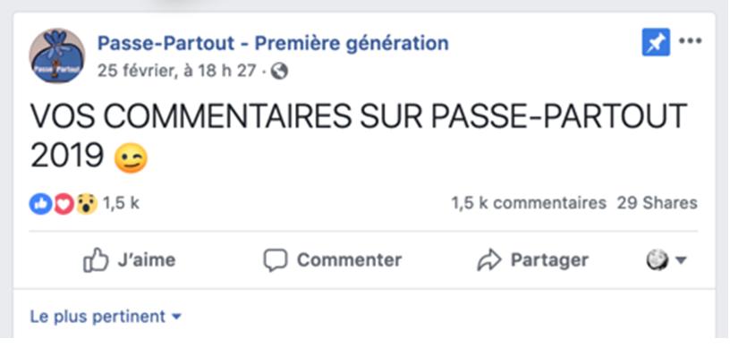 Facebook - Passe-Partout - Première génération