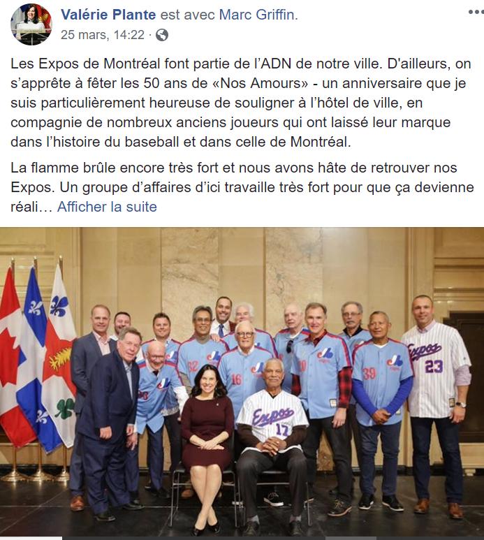 Facebook - Valérie Plante - Les Expos