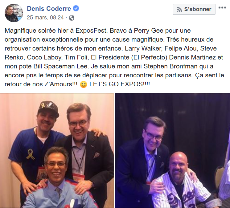 Facebook - Denis Coderre - Les Expos