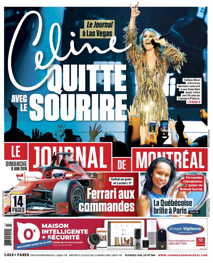 Céline quitte Las Vegas - Une du Journal de Montréal