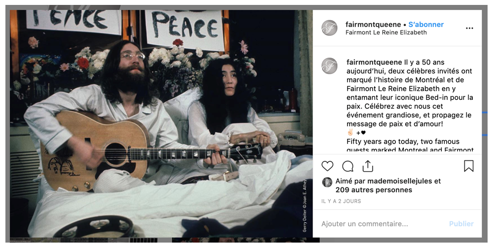 Bed-In - Publication Instagram