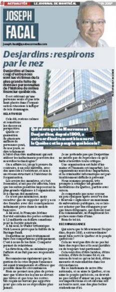 Desjardins : respirons par le nez - Journal de Montréal