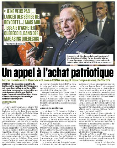 Un appel à l'achat patriotique - Journal de Montréal