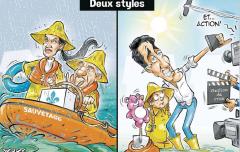 Deux styles - Inondations - Caricature YGREK